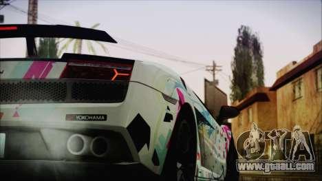 Lamborghini Gallardo LP570-4 2015 Miku Racing 4K for GTA San Andreas back left view