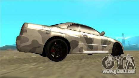 Nissan Skyline R34 Army Drift for GTA San Andreas back left view