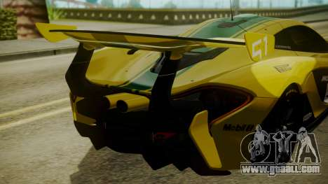 McLaren P1 GTR 2015 Yellow-Green Livery for GTA San Andreas back view