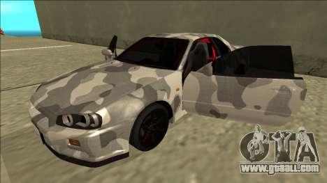 Nissan Skyline R34 Army Drift for GTA San Andreas side view