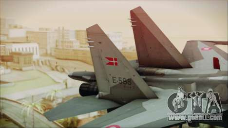 Sukhoi SU-27 Royal Danish Air Force for GTA San Andreas back left view