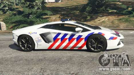 GTA 5 Lamborghini Aventador LP700-4 Dutch Police v5.5 left side view