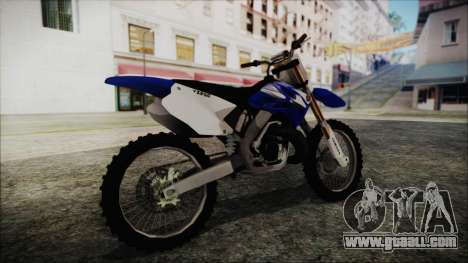 Yamaha YZ250 for GTA San Andreas back left view