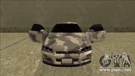 Nissan Skyline R34 Army Drift for GTA San Andreas upper view