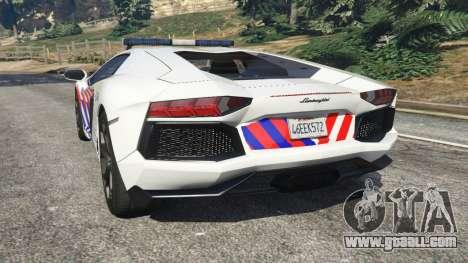 GTA 5 Lamborghini Aventador LP700-4 Dutch Police v5.5 rear left side view