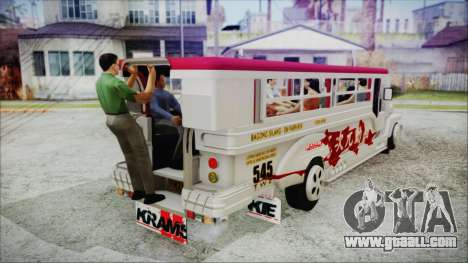 Hataw Motor Works Jeepney for GTA San Andreas back left view
