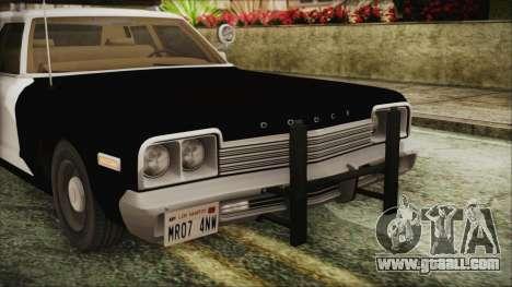 Dodge Monaco 1974 SFPD IVF for GTA San Andreas back view