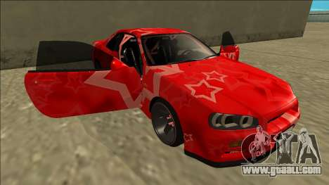Nissan Skyline R34 Drift Red Star for GTA San Andreas bottom view