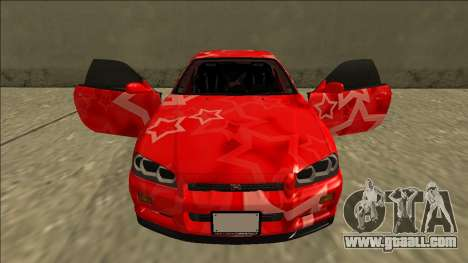 Nissan Skyline R34 Drift Red Star for GTA San Andreas upper view