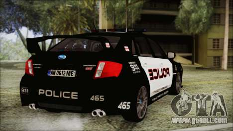 Subaru Impreza Police for GTA San Andreas left view