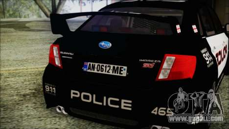 Subaru Impreza Police for GTA San Andreas back view