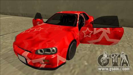 Nissan Skyline R34 Drift Red Star for GTA San Andreas side view