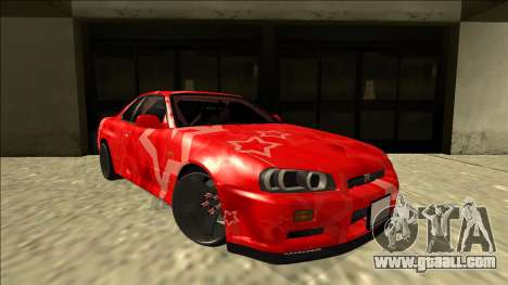 Nissan Skyline R34 Drift Red Star for GTA San Andreas right view