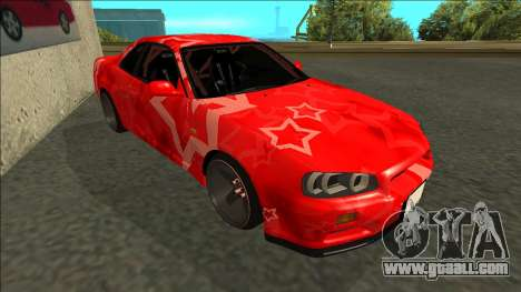 Nissan Skyline R34 Drift Red Star for GTA San Andreas left view