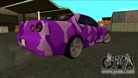 Nissan Skyline R34 Drift for GTA San Andreas inner view