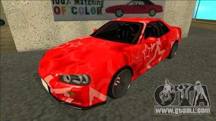 Nissan Skyline R34 Drift Red Star for GTA San Andreas
