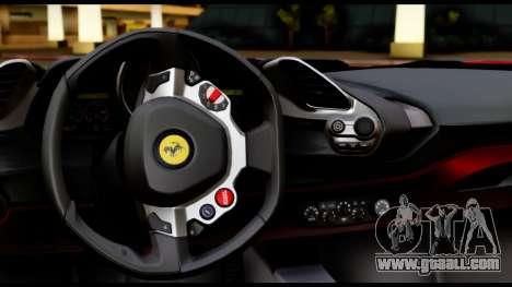 Ferrari 488 GTB 2016 for GTA San Andreas inner view