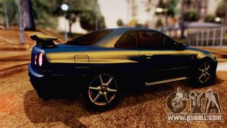 Nissan Skyline GT-R R34 V-spec 1999 for GTA San Andreas back left view
