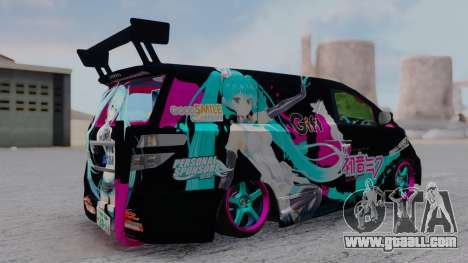 Toyota Vellfire Miku Pocky Exhaust for GTA San Andreas back left view