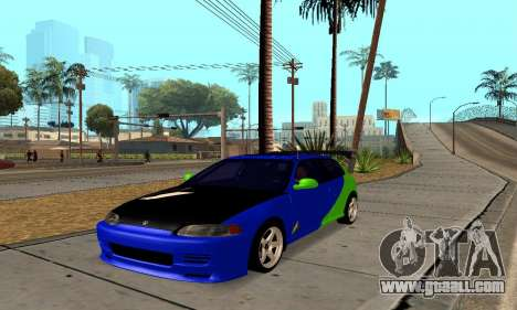 Honda Civic EG6 Tunable for GTA San Andreas back left view