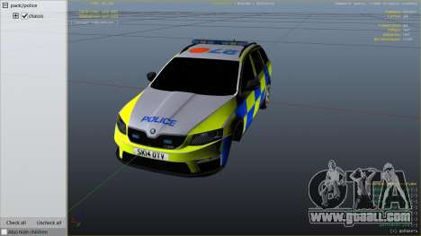 GTA 5 2014 Police Skoda Octavia VRS Estate right side view