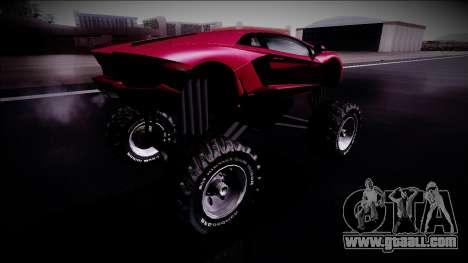 Lamborghini Aventador Monster Truck for GTA San Andreas back left view