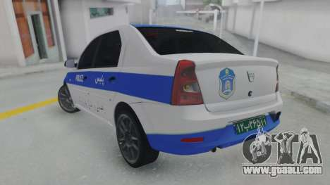 Dacia Logan Iranian Police for GTA San Andreas left view