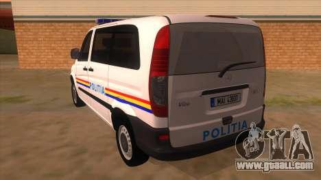 Mercedes Benz Vito Romania Police for GTA San Andreas back left view