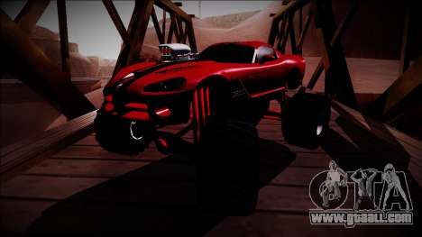 Dodge Viper SRT10 Monster Truck for GTA San Andreas back view