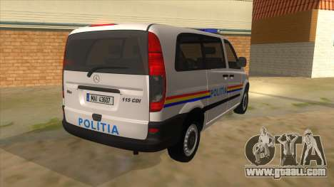 Mercedes Benz Vito Romania Police for GTA San Andreas right view