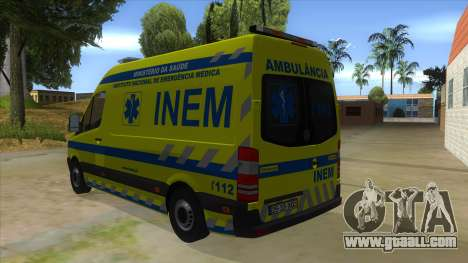 Mercedes-Benz Sprinter INEM Ambulance for GTA San Andreas back left view
