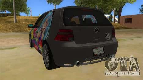 Volkswagen Golf R32 Hatsune Miku Itasha for GTA San Andreas back left view