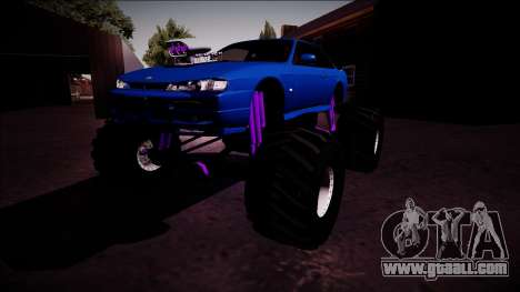 Nissan Silvia S14 Monster Truck for GTA San Andreas back left view