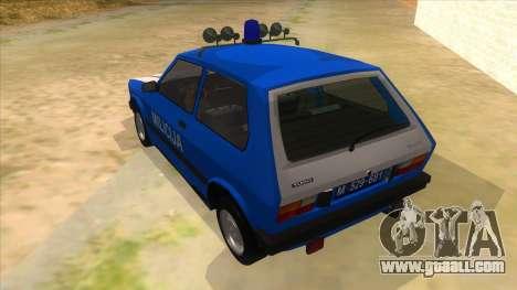 Yugo Koral Police for GTA San Andreas back left view