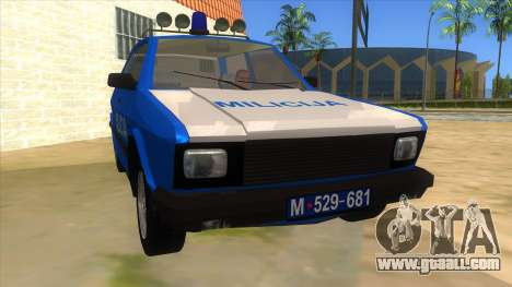 Yugo Koral Police for GTA San Andreas back view