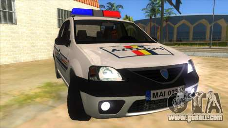 Dacia Logan Romania Police for GTA San Andreas back view