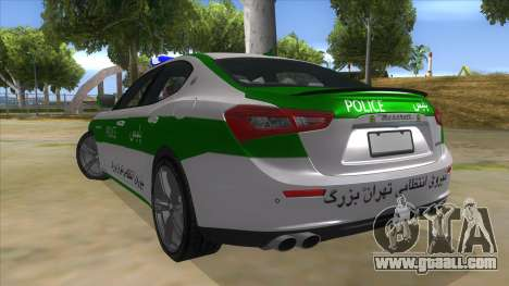 Maserati Iranian Police for GTA San Andreas back left view