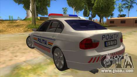 BMW 330XD Romania Police for GTA San Andreas back left view
