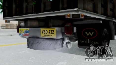 Jeep con Estacas Stylo Colombia for GTA San Andreas back view