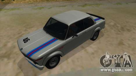 1974 BMW 2002 turbo v1.1 for GTA San Andreas upper view