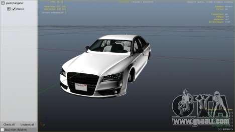 2013 Audi S8 4.0TFSI Quattro for GTA 5
