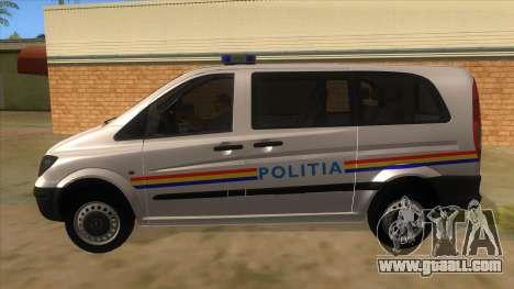 Mercedes Benz Vito Romania Police for GTA San Andreas left view