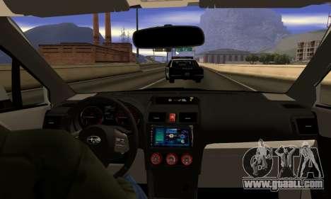 Subaru WRX STI 2015 for GTA San Andreas inner view