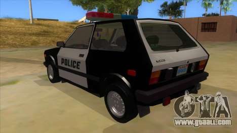 Yugo GV Police for GTA San Andreas back left view