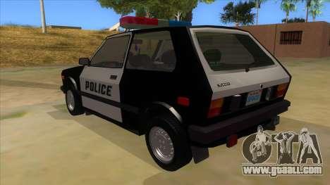 Yugo GV Police for GTA San Andreas back left view