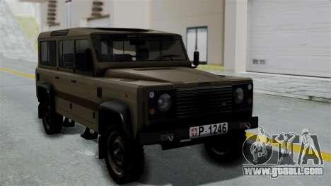 Land Rover Defender Vojno Vozilo for GTA San Andreas