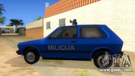 Yugo Koral Police for GTA San Andreas left view