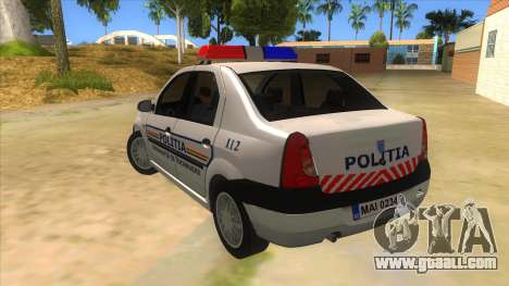 Dacia Logan Romania Police for GTA San Andreas back left view