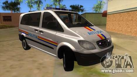 Mercedes Benz Vito Romania Police for GTA San Andreas back view