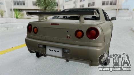 Nissan Skyline GT-R R34 2002 F&F4 Damage Parts for GTA San Andreas back view